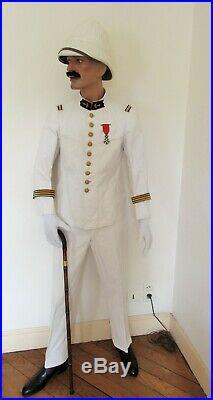 Tonquin Tenue Blanche Uniforme Casque Officier Des Troupes Coloniales 1900/1920