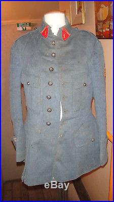 Uniforme militaria vareuse pantalon officier 14-18 bleu horizon artillerie