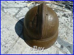 WW1 14/18 Casque Adrian Modèle 15 Moutarde des Troupes d'Afrique Jus