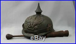 Ww1 German Trench Club Grabenkeule spiked helmet pickelhaube casque