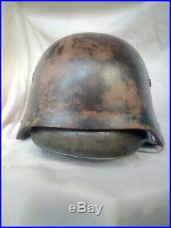 Ww1 Lot Casque Allemand Modèle 18 A Échancrures + Plaque Stirnpanzer 14-18